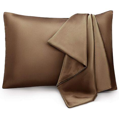 Taie d'oreiller en pure soie 100% soie de mûrier taie d'oreiller en soie marron