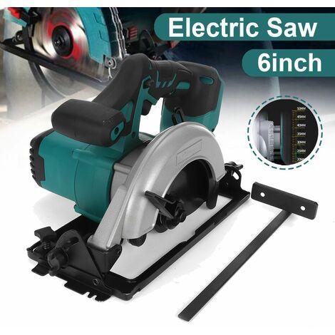 [Taille de broche 6 pouces 152 mm] Scie circulaire électrique Poignée Outils électriques Machine de découpe 50 ° Scie circulaire électrique Scie à bois Lithium électrique