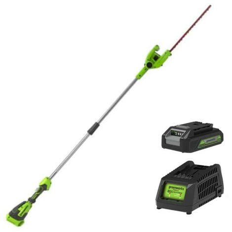 Taille-haies 51 cm GREENWORKS 40V - Sur perche - 1 batterie 2.0 Ah - 1 chargeur - G40PHAK2