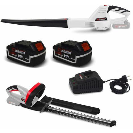 Taille-haies rechargeable + Souffleur à feuilles à batterie X-Performer XPTH20LI + XPTH20LI + 2 Batteries 4 Ah et chargeur