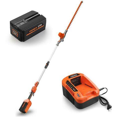 Taille-haies télescopique batterie 40 V FUXTEC E920D / set avec batterie et chargeur