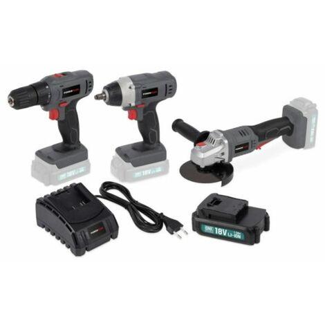Taladro+Amoladora+llave de impacto+batería+cargador 18v - Powerplus
