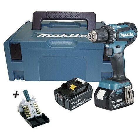 Taladro atornillador 18V LXT 50 Nm 5.0 Ah 2 Bat DDF485RTJ MAKITA PRK00382 + puntas