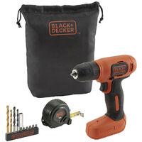 Taladro atornillador 7,2V Black+Decker + 11 accesorios con bolsa BDCD8GPA-QW