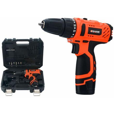 Taladro Atornillador Bateria Recargable Litio 12V + Brocas Puntas Destornillador