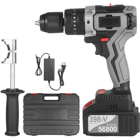 Taladro atornillador inalambrico 21V 4.0A Bateria Max Torque 200N.m 1/2 pulgada Portabrocas de metal sin llave 20 + 3 posiciones 0-1550RMP Destornillador de martillo de impacto de velocidad variable con caja de herramientas de plastico, enchufe de la UE c