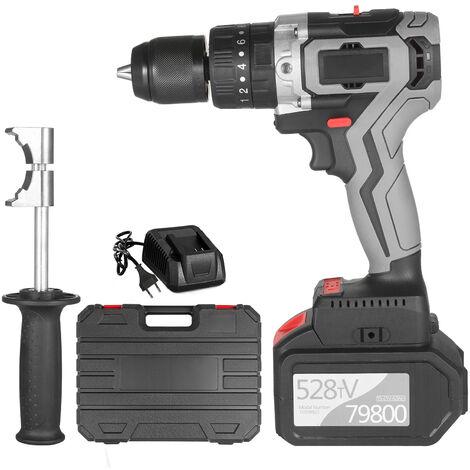 Taladro atornillador inalambrico 21V 6.0A Bateria Max Torque 200N.m 1/2 pulgada Portabrocas de metal sin llave 20 + 3 posiciones 0-1550RMP Destornillador de martillo de impacto de velocidad variable con caja de herramientas de plastico, enchufe de la UE c