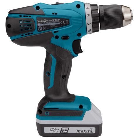 Makita DF457DWE Taladro/atornillador a baterías Li-Ion set (2x baterías de 1.3 amperios) en maletín Mbox