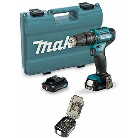 Taladro combinado 12Vmax CXT 10 mm MAKITA HP333DSAE + Estuche de puntas