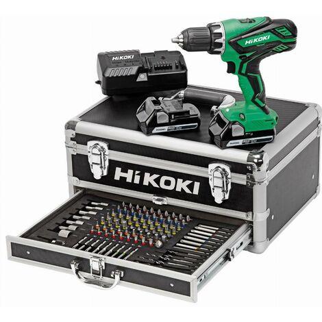 Taladro destornillador 18V 2.5Ah iones de litio HIKOKI - 2 baterías + arcón de aluminio para 100 accesorios - KC18DJLFZ
