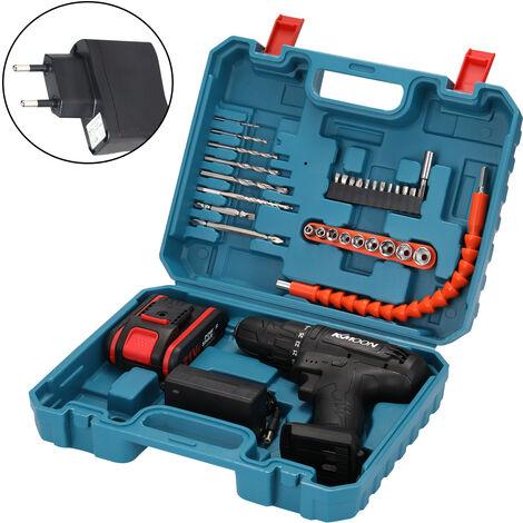 Taladro electrico multifuncion domestico 21VF, mini destornillador, enchufe de la UE, 1 paquete de bateria