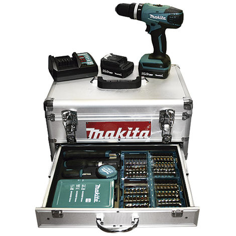 Taladro percutor 14,4V Litio 1,3Ah maletín aluminio - MAKITA