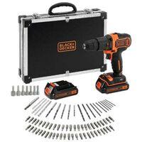 Taladro percutor 18 V + 2 baterías 1.5 Ah Li + 80 accesorios + maletín