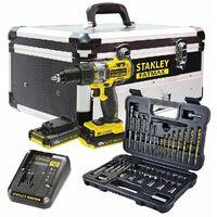 Taladro Percutor 18v 2.0ah + Kit 50 Accesorios + Caja Stanley Fatmax Fmck625d2f-qw