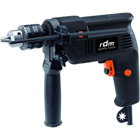 Taladro percutor 500W, giro reversible, velocidad variable, botón de bloqueo. Color negro y naranja.
