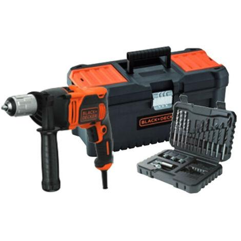 Taladro Percutor 850W + kit 32 piezas + caja de herramientas Black+Decker BEH850KA32-QS