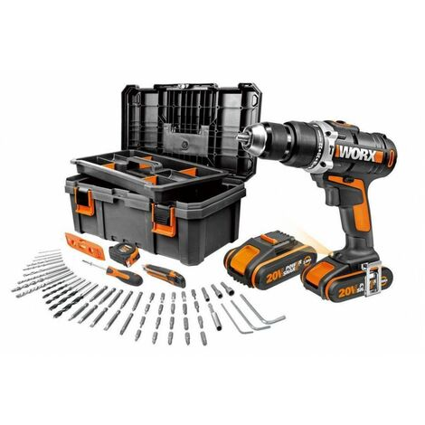Taladro Percutor a batería 20v 2 baterías 2Ah con caja herramientas y 55 accesorios WORX WX372.12