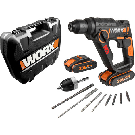 WORX - H3 - 3 en 1 - Martillo, Taladro, Atornillador 20V 2.0Ah 2 bat. - WX390.1