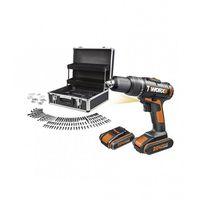 Taladro percutor a batería WX371.2 WORX 2 bat. 20v 1.5Ah con maletin +158 accesorios