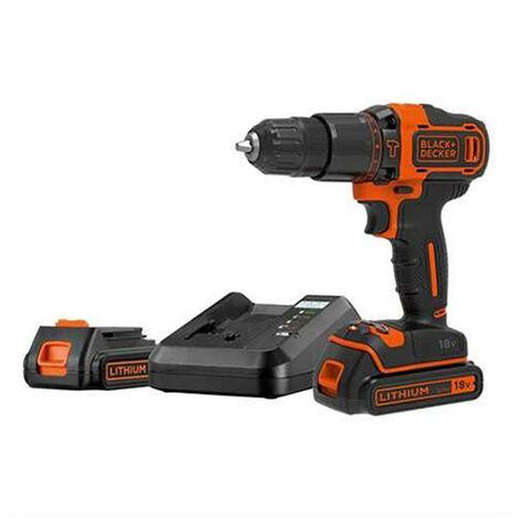Taladro percutor BDCHD18K1B2 18V + cargador + 2 baterías 2Ah+ maletín Black+Decker