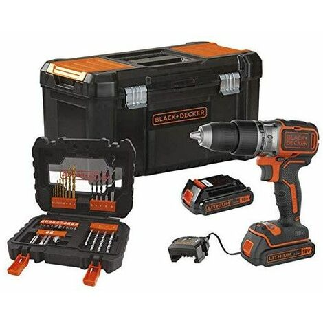 Taladro Percutor Brushless Black+Decker 18V 13mm + 2 baterías 2Ah + caja + 31 accesorios BL188D2KA31
