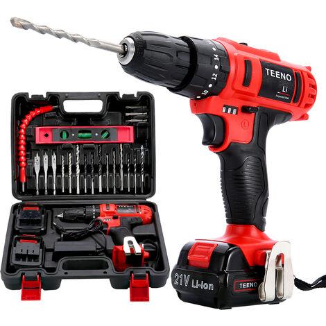 Taladro Percutor sin cable 21V TEENO +2 baterías de iones de litio+20 accesorios + guantes profesionales - Rouge
