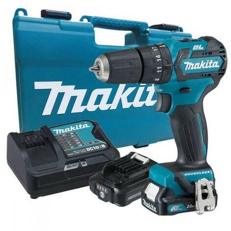 Taladro Percutor sin escobillas 12Vmax CXT BL 10mm con 2 baterías y maletín Makita HP332DSAE