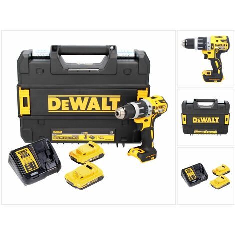 DeWALT DCD 796 D2 Taladro percutor inalámbrico sin escobillas XR 18 V en maletín TSTAK + 2x Batería DCB 183 2,0 Ah + Cargador DCB 113