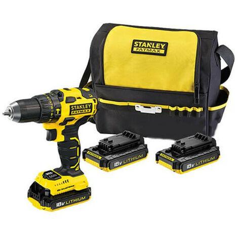 Taladro Percutor Stanley 18V + 3 baterías 2Ah + cargador + bolsa de transporte FMC627D3S