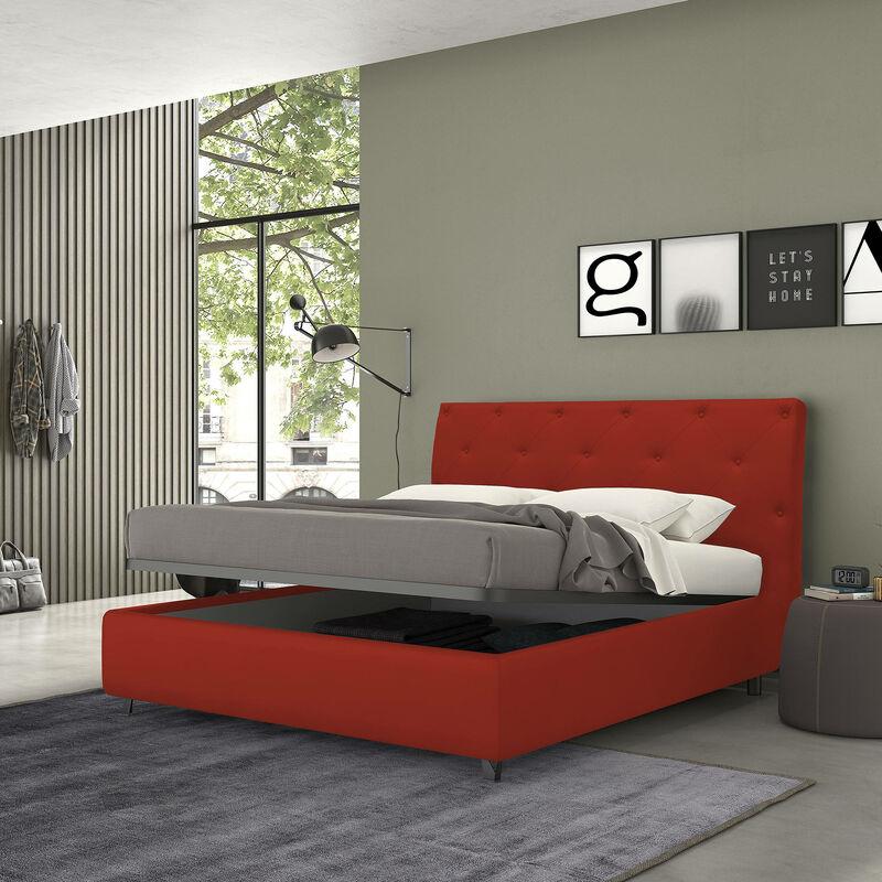 letto con contenitore singolo mozart rosso, ecopelle - Rosso - TALAMO ITALIA
