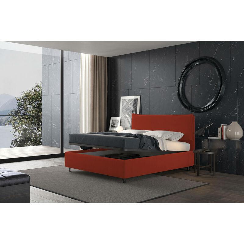 letto con contenitore singolo puccini rosso, ecopelle - Rosso - TALAMO ITALIA