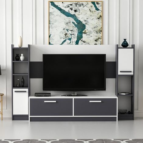 Talisa TV Stand - with Doors, Shelves - for Living Room - White, Anthracite, made in Wood, 210 x 35 x 130 cm