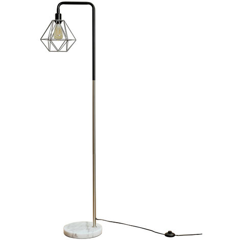 Talisman Marble Base Floor Lamp in Brushed Chrome with Diablo Shade - LED Bulb - Silver
