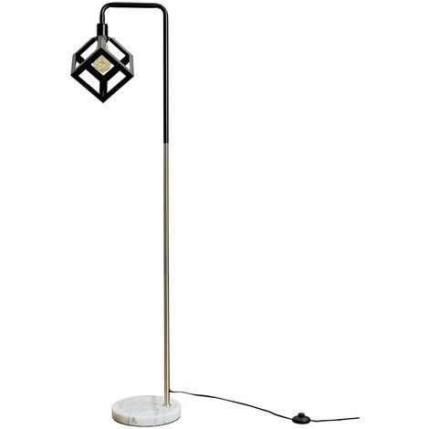 Talisman Marble Base Floor Lamp in Brushed Chrome with Puzzle Shade - LED Bulb - Silver