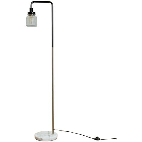 Talisman Marble Base Floor Lamp in Brushed Chrome with Ribbed Jar Shade - No Bulb - Silver