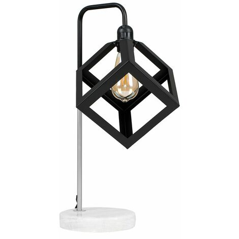 Talisman Marble Base Table Lamp in Brushed Chrome with Puzzle Shade - LED Bulb - Silver