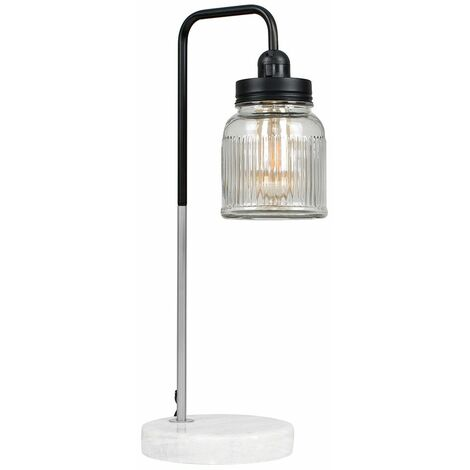 Talisman Marble Base Table Lamp in Brushed Chrome with Ribbed Jar Shade - No Bulb - Silver