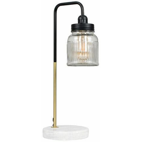 Talisman Marble Base Table Lamp in Gold with Ribbed Jar Shade
