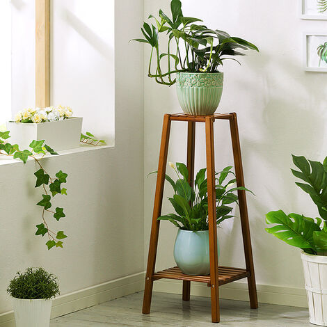 Tall bamboo plant stand 2 tier pot stand