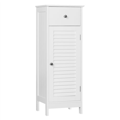 Tall Bathroom Storage Cabinet Free-Standing Bedroom Hallway Side Cabinet Cupboard Storage Unit with Drawer MDF White 32 x 30 x 87 cm