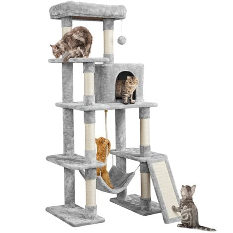 """main image of """"Tall Cat Tree Tower Scratching Post Activity Centre Multi-Level Kitten House with Condo Hammock Large Cat Furniture Climbing Tower for Indoor Cats"""""""