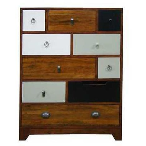 Tall Chest Of 10 Multi Color Drawers With Unique Finish Wooden Furniture