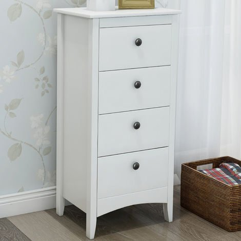 Tall Chest of 4 Drawers White Bedside Cabinet Wood Storage Chest Bedroom Hallway Anti-Tipping Supports B2B00296