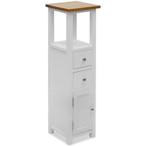 Tall Chest of Drawers 26x26x94 cm Solid Oak Wood - White