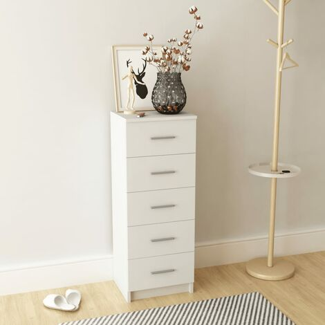 Tall Chest of Drawers Chipboard 41x35x106 cm White - White