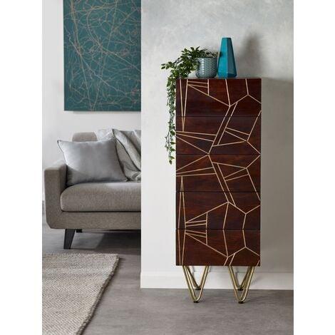 Tall Chest of drawers Dallas Dark Mango - Dark Wood