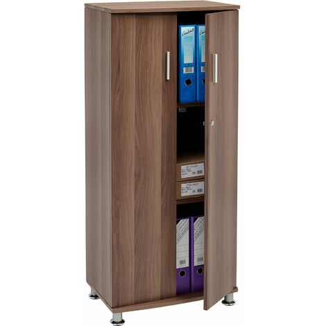 Tall Cupboard with 3 shelves Storage Filing Cabinet Matching Range of Home Office in Dark Walnut - Piranha Furniture Bonito PC 6w - Dark Walnut
