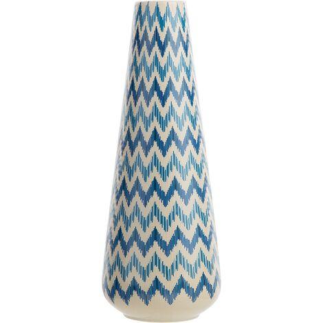 Tall Decorative Flower Vase Ceramics Ikat Chevron White with Blue Chiva