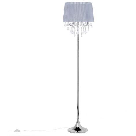 Tall Floor Lamp Standing Light Shade Crystals Glam 3 Light Grey Evans