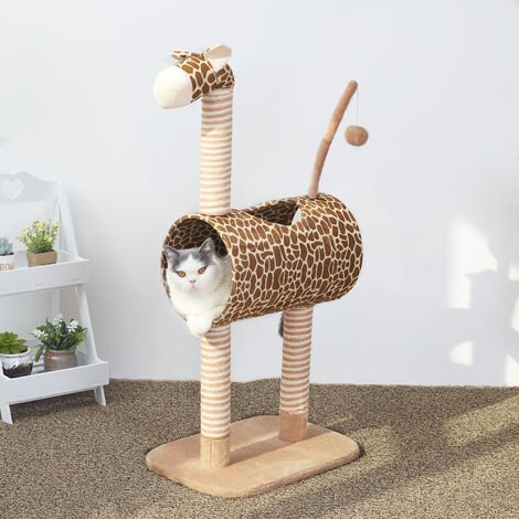 Tall Giraffe Cat Tower with Tunnel and Ball Scratching Post Kitten Playground Center